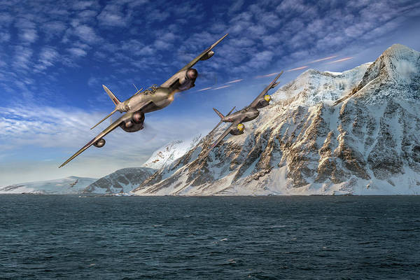 Photograph - Raf Mosquitos In Norway Fjord Attack by Gary Eason