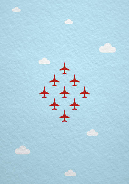 Red Arrows Photograph - Raf Red Arrows In Formation by Samuel Whitton