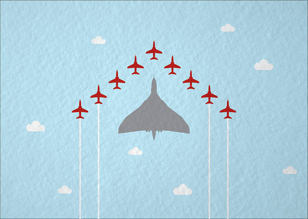 Wall Art - Photograph - Raf Red Arrows In Formation With Vulcan Bomber by Samuel Whitton