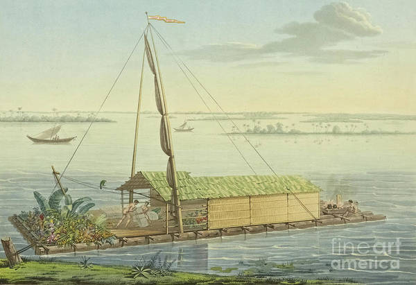 Wall Art - Painting - Raft On The River Guayaquil by Alexander von Humboldt