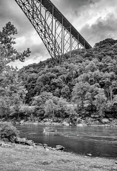 Wall Art - Photograph - Rafting Beneath The New River Bridge Bw by Steve Harrington