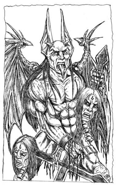 Demonic Drawing - Rage Of An Angel by Alaric Barca