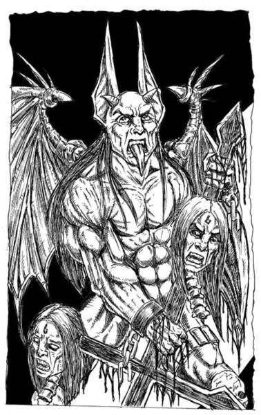 Demonic Drawing - Rage Of An Angel Black by Alaric Barca