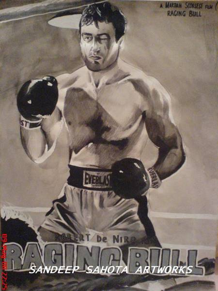 Orlando Bloom Painting - Raging Bull by San Art Studio