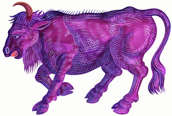 Wall Art - Painting - Raging Bull Taurus by Jane Tattersfield