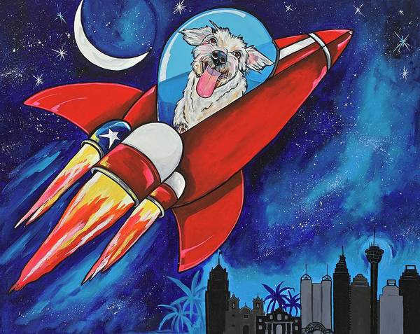Painting - Rags The Rocket Dog by Patti Schermerhorn