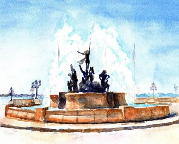 Painting - Raices Fountain San Juan Puerto Rico by Carlin Blahnik CarlinArtWatercolor
