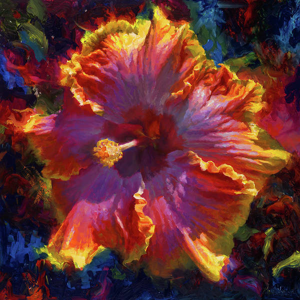Big Small Painting - Rainbow Hibiscus Tropical Flower Wall Art Botanical Oil Painting Radiance  by Karen Whitworth