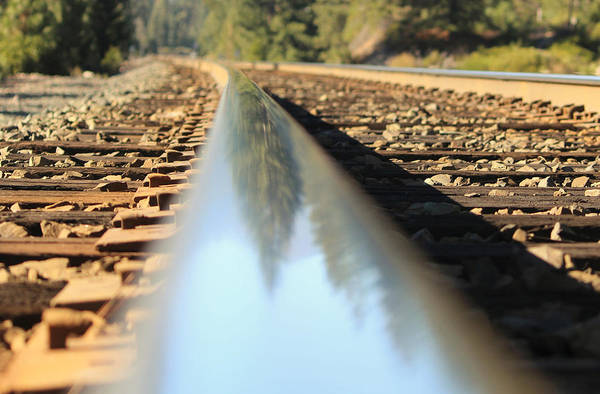 Railroad Tie Wall Art - Photograph - Rail Reflections by Marnie Patchett