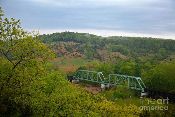 Photograph - Railroad Bridges Over The Piney River At Devils Elbow Missouri by T Lowry Wilson