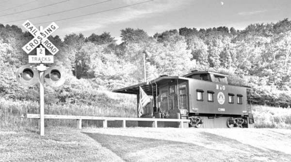 Photograph - Railroad Crossing And Caboose Black And White by Lisa Wooten