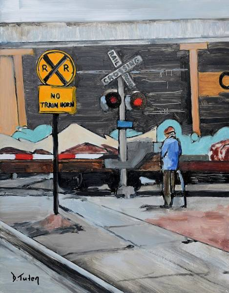 Stop Light Painting - Railroad Crossing by Donna Tuten