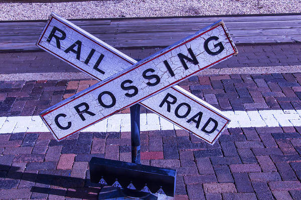 Rail Crossing Photograph - Railroad Crossing Sign  by Garry Gay