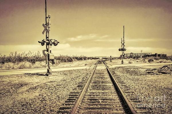 Railroad Crossing Textured Art Print