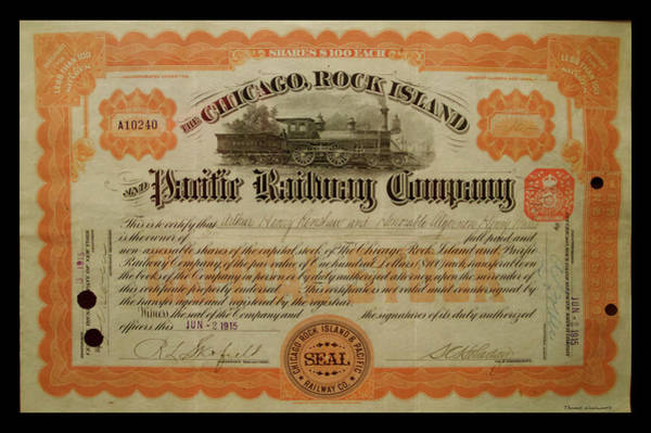 Wall Art - Photograph - Railroad Stocks The Chicago Rock Island by Thomas Woolworth