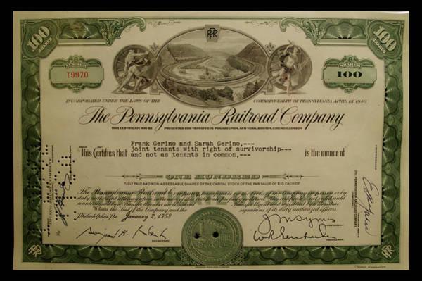 Doona Mixed Media - Railroad Stocks The Pennsylvania Railroad by Thomas Woolworth