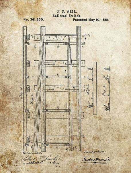 Railroad Station Drawing - Railroad Switch Patent by Dan Sproul