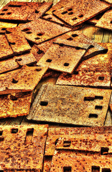 Photograph - Railroad Tie Plates Abstract by Gary Slawsky