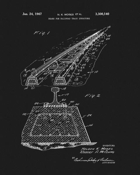 Drawing - Railroad Track Patent by Dan Sproul