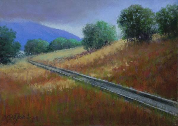 Wall Art - Painting - Railroad Tracks Around Blue Mountain by Paula Ann Ford