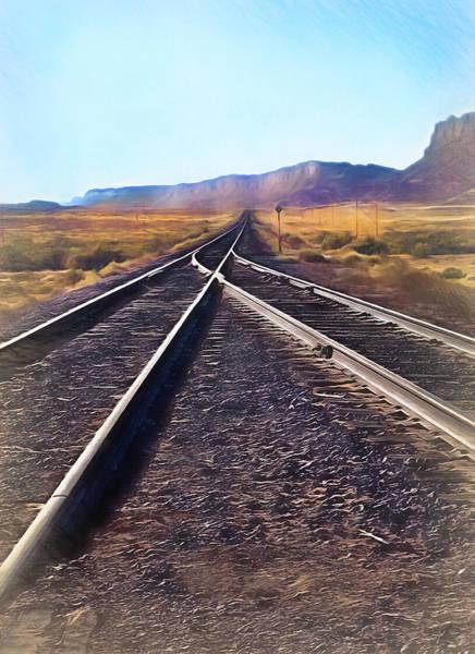 Wall Art - Photograph - Railroad Tracks Into Horizon - Painterly by Steve Ohlsen