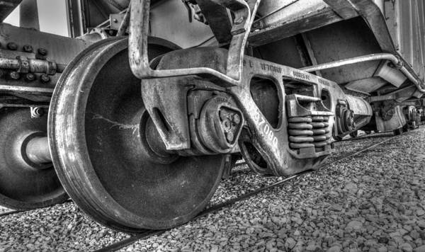 Photograph - Railroad Truck Black And White by TL  Mair