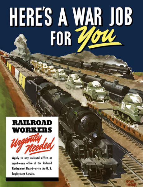Vintage Train Painting - Railroad Workers Urgently Needed by War Is Hell Store