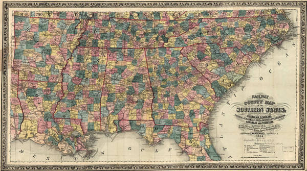 Wall Art - Painting - Railway And Countmapy Map Of The Southern States 1864 by Edward Mendenhall