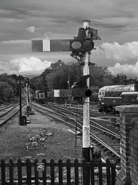 Epping Wall Art - Photograph - Railway Signals In Black And White by Gill Billington