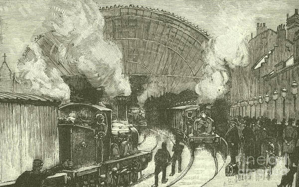 Railroad Station Drawing - Railway Station  by English School