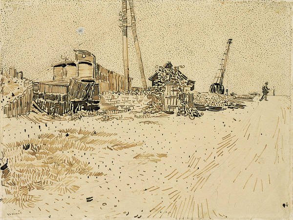 Delivery Truck Painting - Railway Storage Yard, 1888 by Vincent Van Gogh