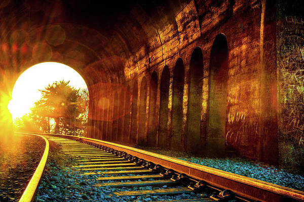 Railway Track Sunrise Art Print