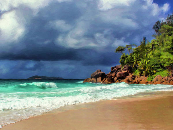 Painting - Rain At Anse Georgette Seychelles by Dominic Piperata