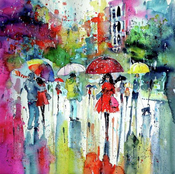 Wall Art - Painting - Rain, Colours, People.... by Kovacs Anna Brigitta