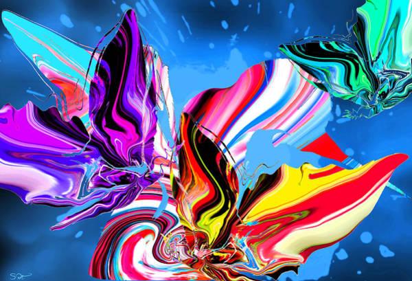 Surrealist Drawing - Rain Dancing Butterflies With Hummingbird by Abstract Angel Artist Stephen K