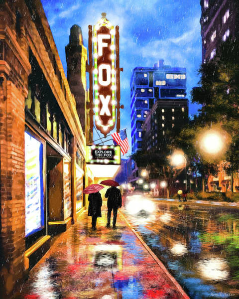 Rain Falling On Peachtree Street - Atlanta Art Print