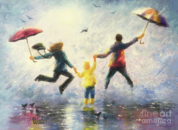 Wall Art - Painting - Rain Family Mother Father Son by Vickie Wade