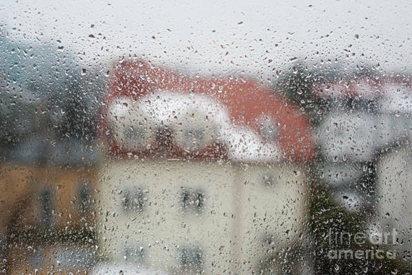 Wall Art - Photograph - Rain Flow On Window Glass Home Blurred Abstract  by Arletta Cwalina