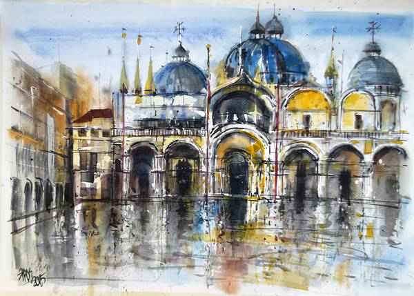 Painting - Rain In St. Mark's Square by Lorand Sipos