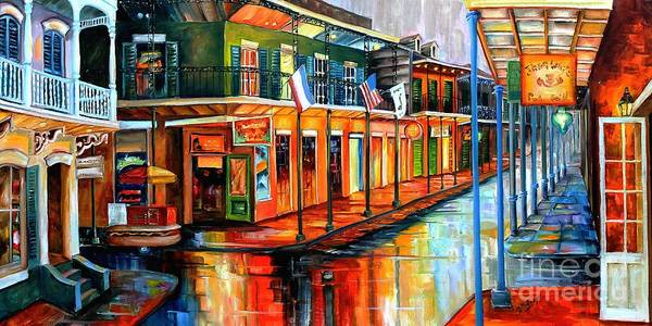 Bourbon Street Wall Art - Painting - Rain In The Big Easy by Diane Millsap