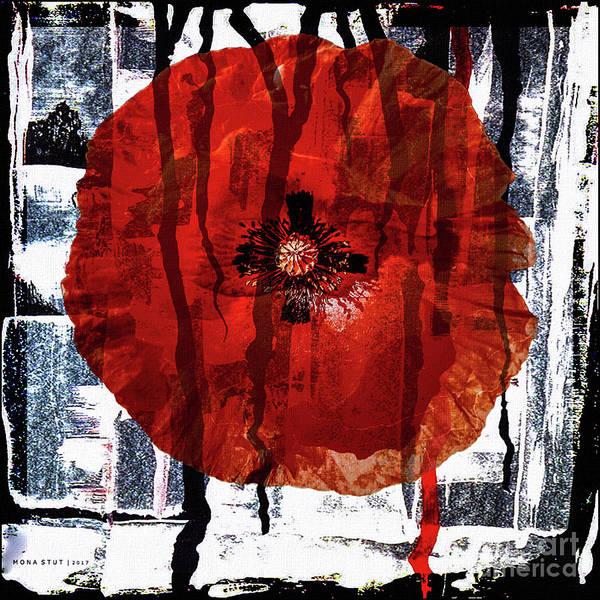 Red Poppy Mixed Media - Rain by Mona Stut