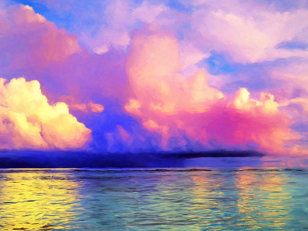 Painting - Rain Squall Off Rarotonga by Dominic Piperata