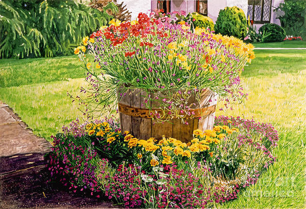 Containers Painting - Rainbarrel Garden by David Lloyd Glover