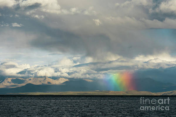 Wall Art - Photograph - Rainbow Above Lake Manasarovar Kailas Artmif.lv by Raimond Klavins