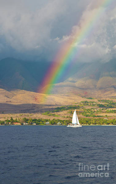 Wall Art - Photograph - Rainbow And Sailboat On Maui Hawaii by ELITE IMAGE photography By Chad McDermott
