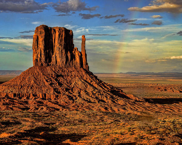 The Mitten Photograph - Rainbow At Elephant Tusk - Monument Valley - Arizona by Jon Berghoff