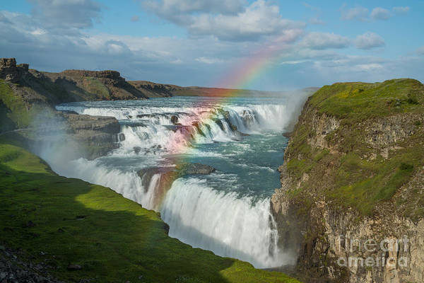 Crevice Photograph - Rainbow At Gullfoss Iceland by Michael Ver Sprill