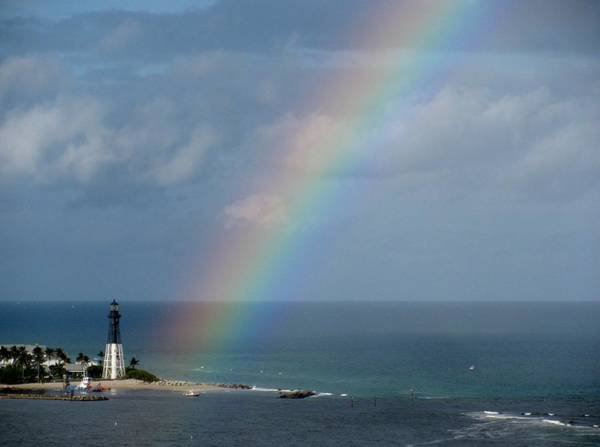 Rainbow At Hillsboro Lighthouse Art Print