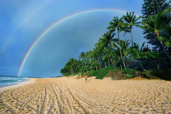 Wall Art - Photograph - Rainbow At Pipeline, North Shore,  by Sean Davey