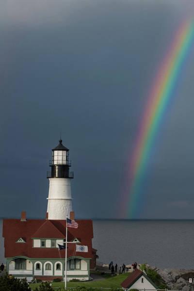 Photograph - Rainbow At Portland Head Light by Jesse MacDonald